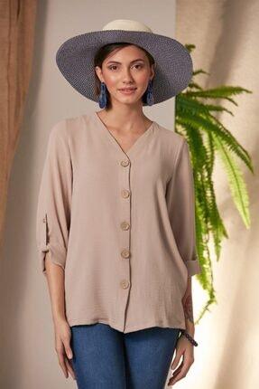 RMG Kadın Bej Düğme Detaylı Krem Gömlek