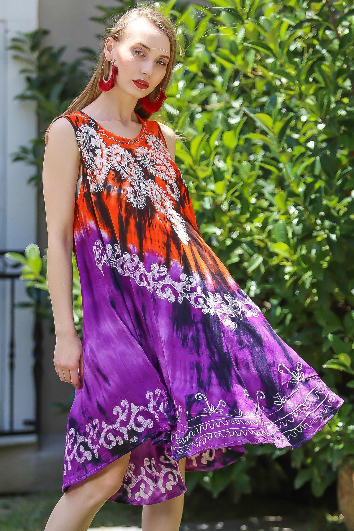 Chiccy Kadın Turuncu-Mor Bohem Batik Yakası Çiçek Desenli Elbise M10160000El96545