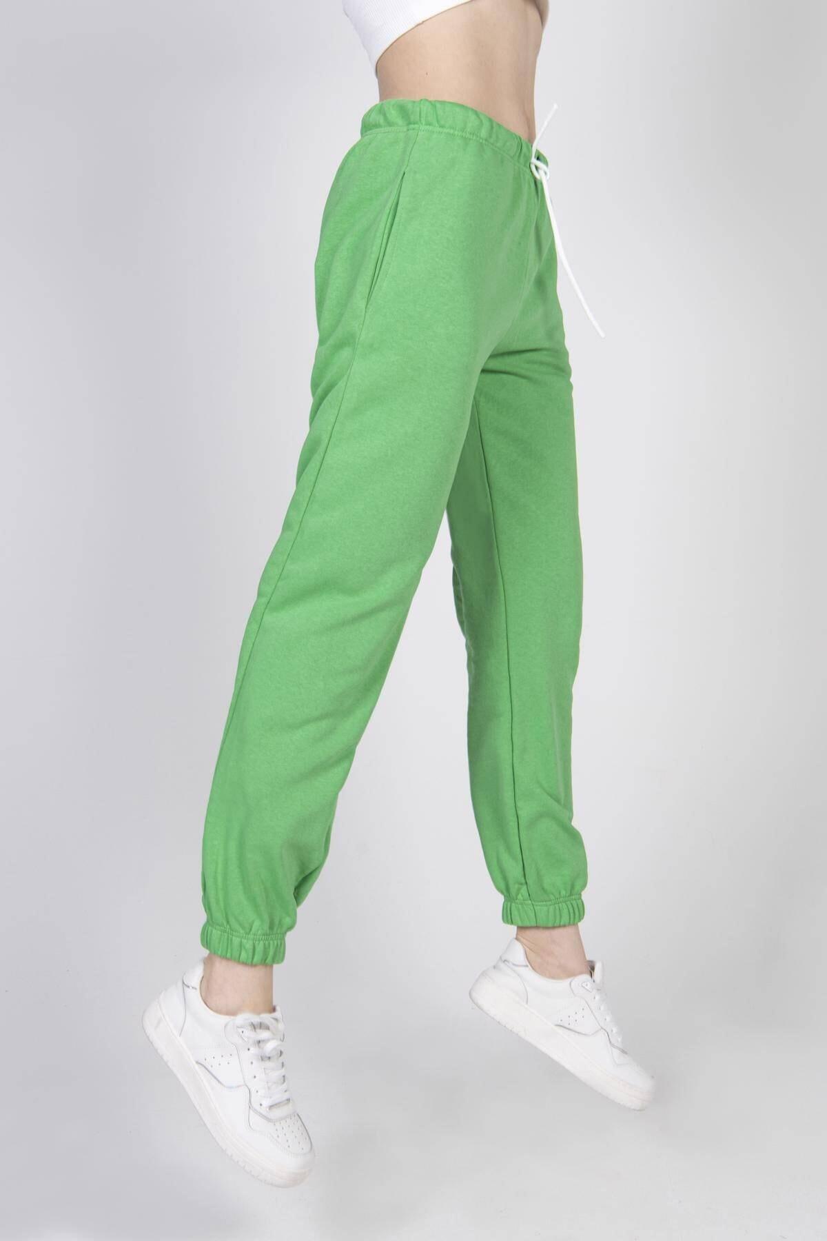 Addax Kadın Limon Yeşil Paçası Lastikli Eşofman EŞF0630 - T5 ADX-0000017572 2