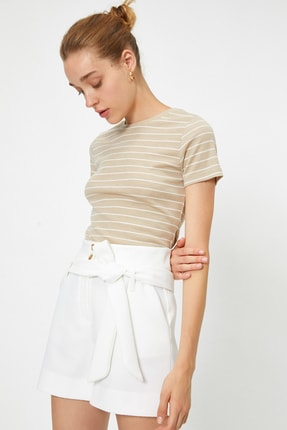 Koton Kadın Deve Tüyü  T-Shirt 0YAK12940OK