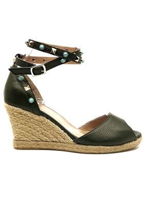 trendytopuk Kadın Haki Hakiki Deri Hasır Tabanlı Burnu Açık Dolgu Topuklu Ayakkabı