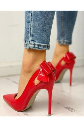 trendyes Kadın Kırmızı Rugan Fiyonklu Topuklu Stiletto
