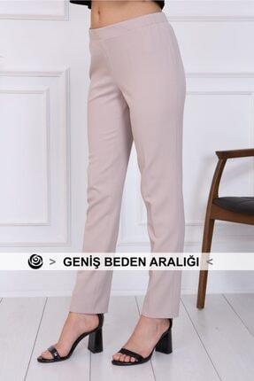 Gül Moda Bayan Büyük Beden Beli Lastikli Pantolon Bej