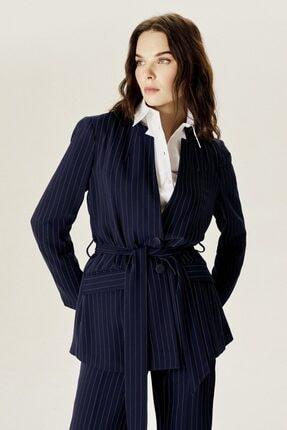 Naramaxx Kadın Lacivert  Çizgili Klasik Ceket