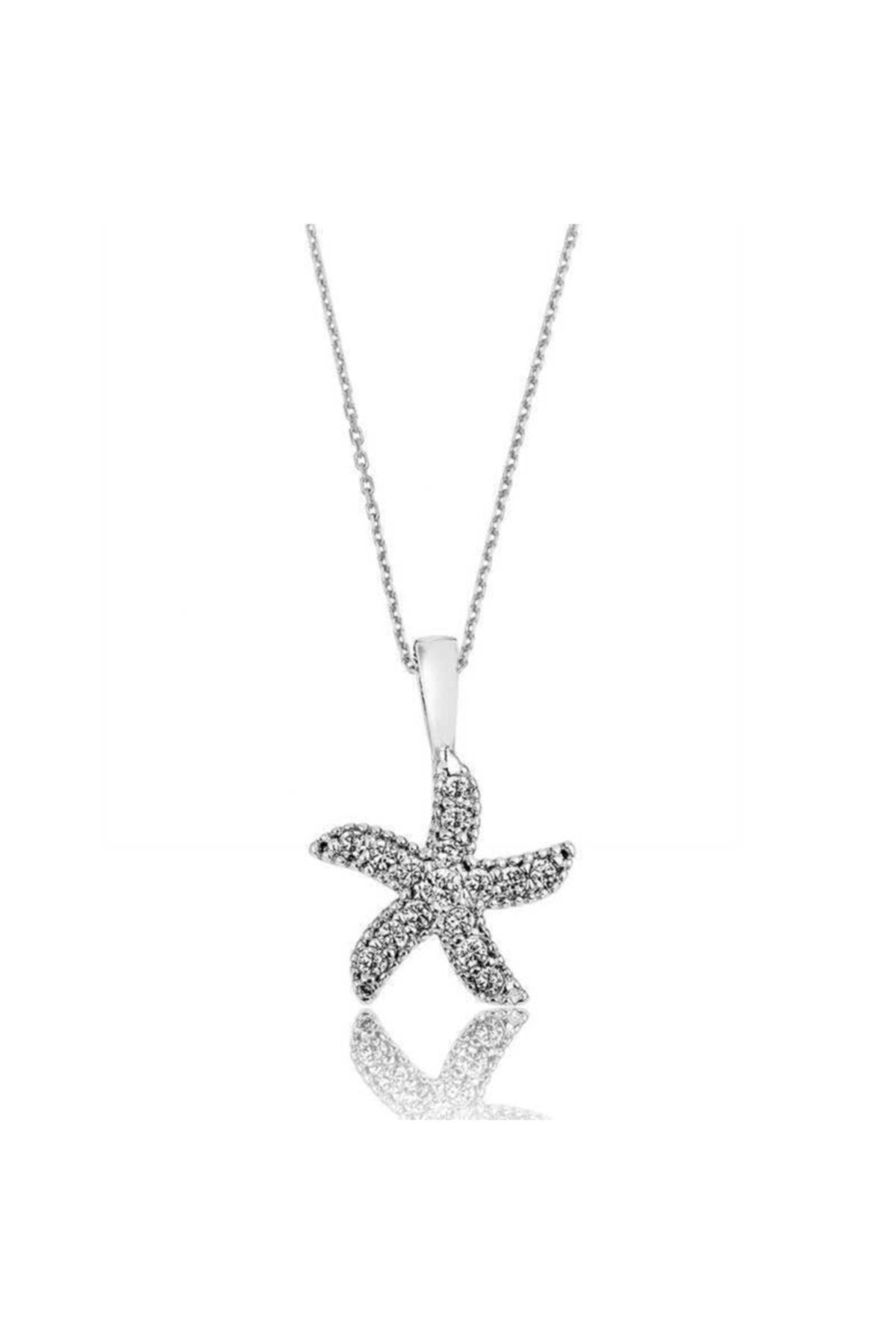 Gumush Kadın Gümüş Deniz Yıldızı Kolye 1