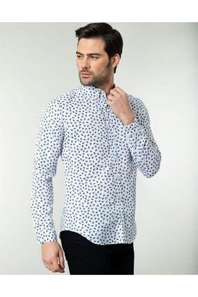 Tudors Erkek Beyaz Slim Fit Desenli Spor Gömlek