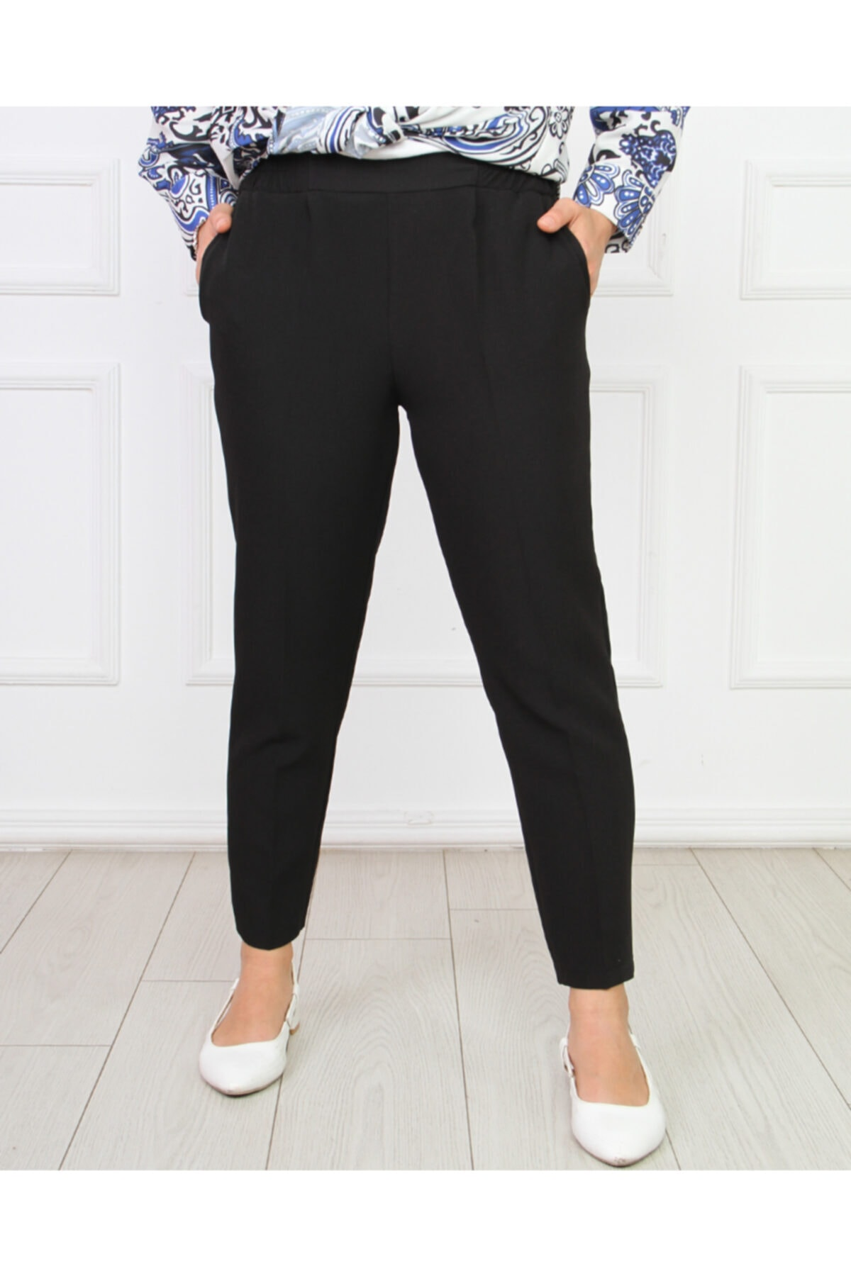 Hüma Sultan Kadın Siyah Kalem Bel Lastik Pantolon Pnt-2004 1