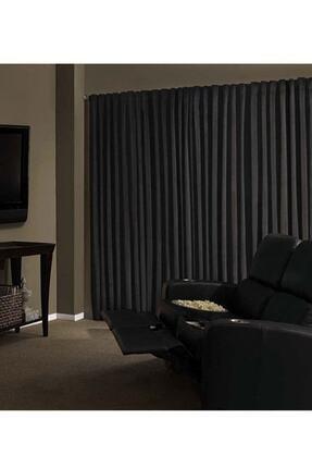Taç Blackout Fon Perde Ekstraforlu Düz Dikiş - Siyah 200x260