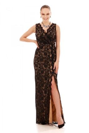 6ixty8ight Kadın Siyah Dantel Anvelop Uzun Abiye Elbise S57023