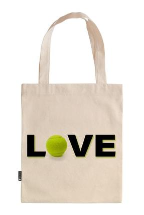Mespho Tenis Topu Love Baskılı Ham Bez Çanta