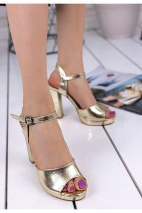 MODABULUT Blaze Gold Cilt Topuklu Ayakkabı