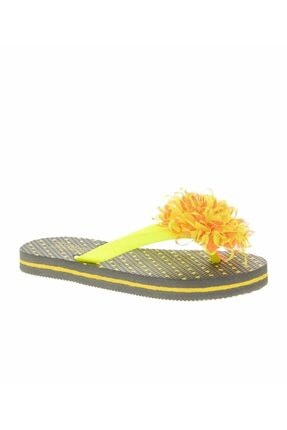 T-Box Kız Çocuk Sarı Çiçekli Parmak Arası Terlik