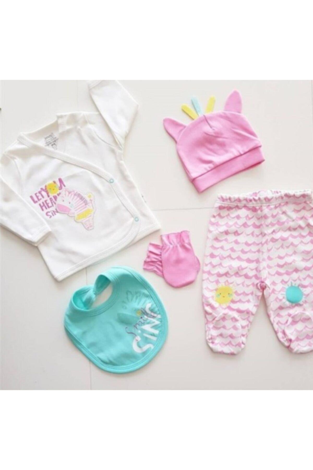 İmaj Yeni Kolleksiyon Kız Bebek 5 Parça 0-3 Ay Hastane Çıkışı Yenidoğan Seti 5067 1