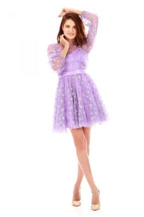 6ixty8ight Kadın Lila Tüllü Yıldızlı Kısa Abiye Elbise S56725