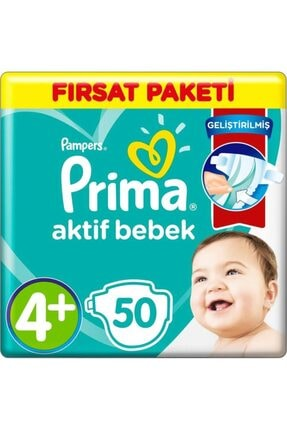Prima Aktif Bebek No:4+ Maxi Plus 50 Adet Bebek Bezi