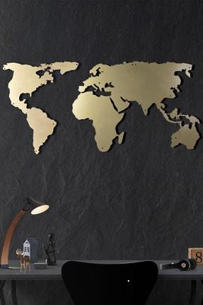 Bystag Metal Duvar Dekoru Dünya Haritası Silüet Gold