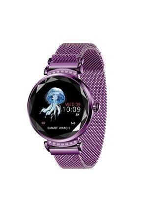 Mopal H1 Metal Kordon Bayan Akıllı Saat Smart Watch Bileklik Mor