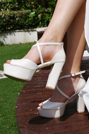 Gelinlik Ayakkabıcım Rahat Ve Yastıklı Çelik Taban Sedef 12 Cm Kalın Topuklu Ayakkabı