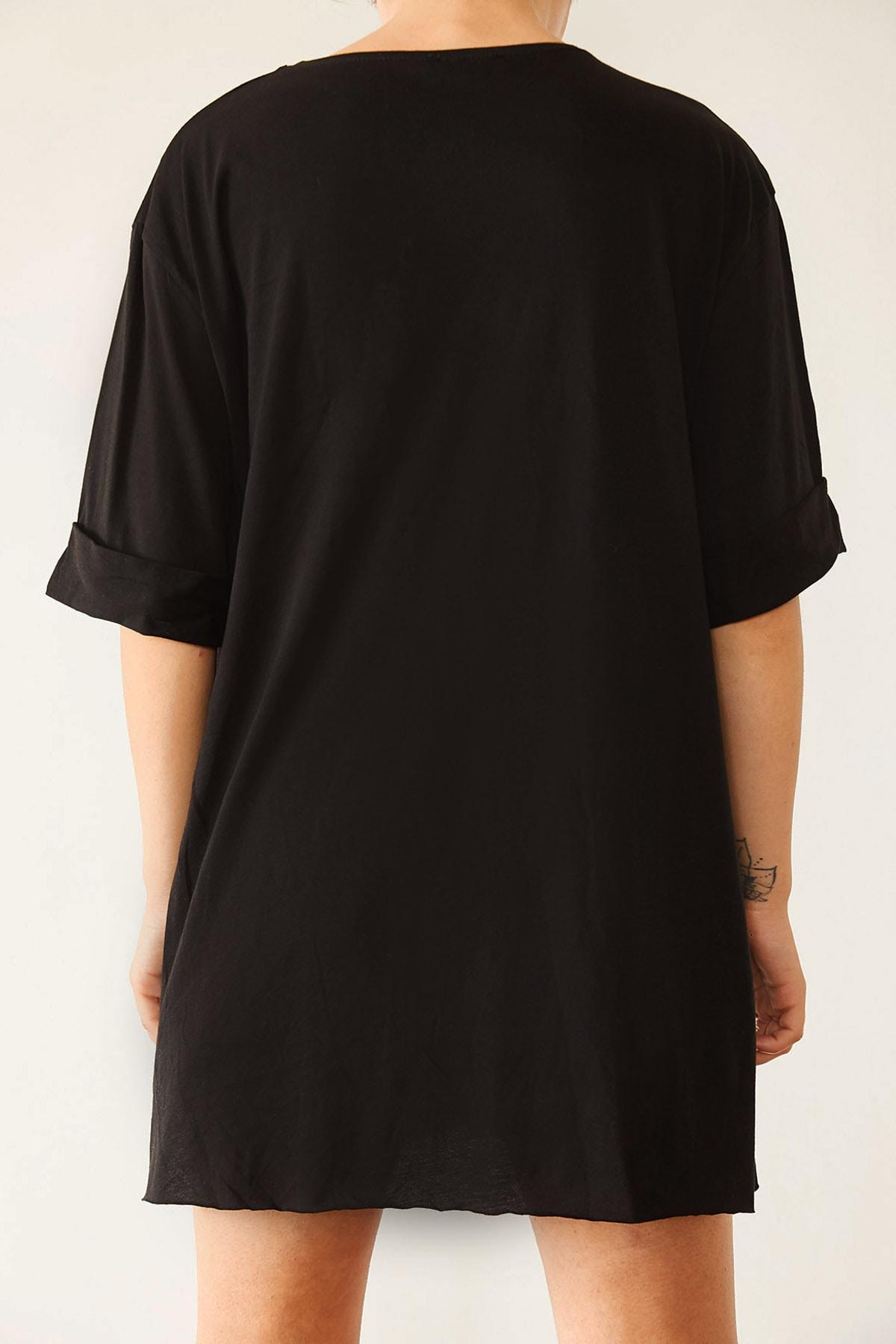 XENA Kadın Siyah Boyfriend Basic Tişört 0YZK1-10343 2