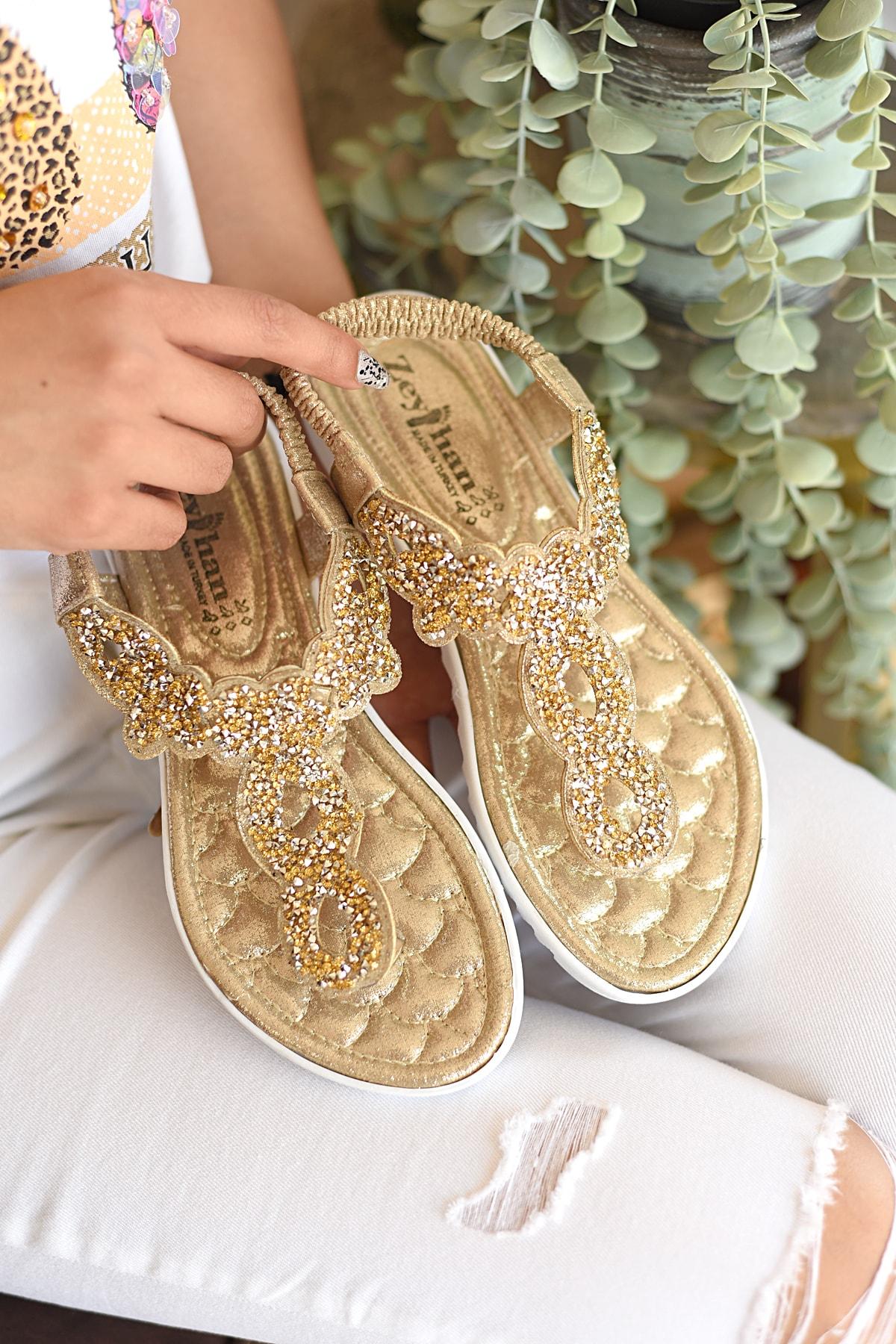 Pembe Potin Kadın Dore Sandalet 1