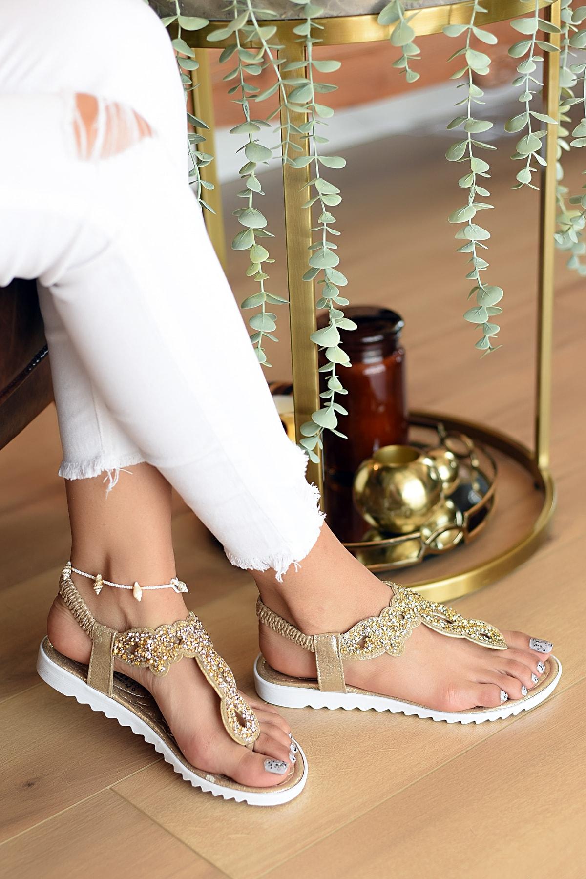 Pembe Potin Kadın Dore Sandalet 2
