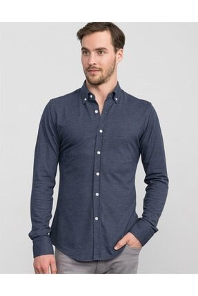 Tudors Erkek  Mavi Slim Fit Düz Penye Gömlek