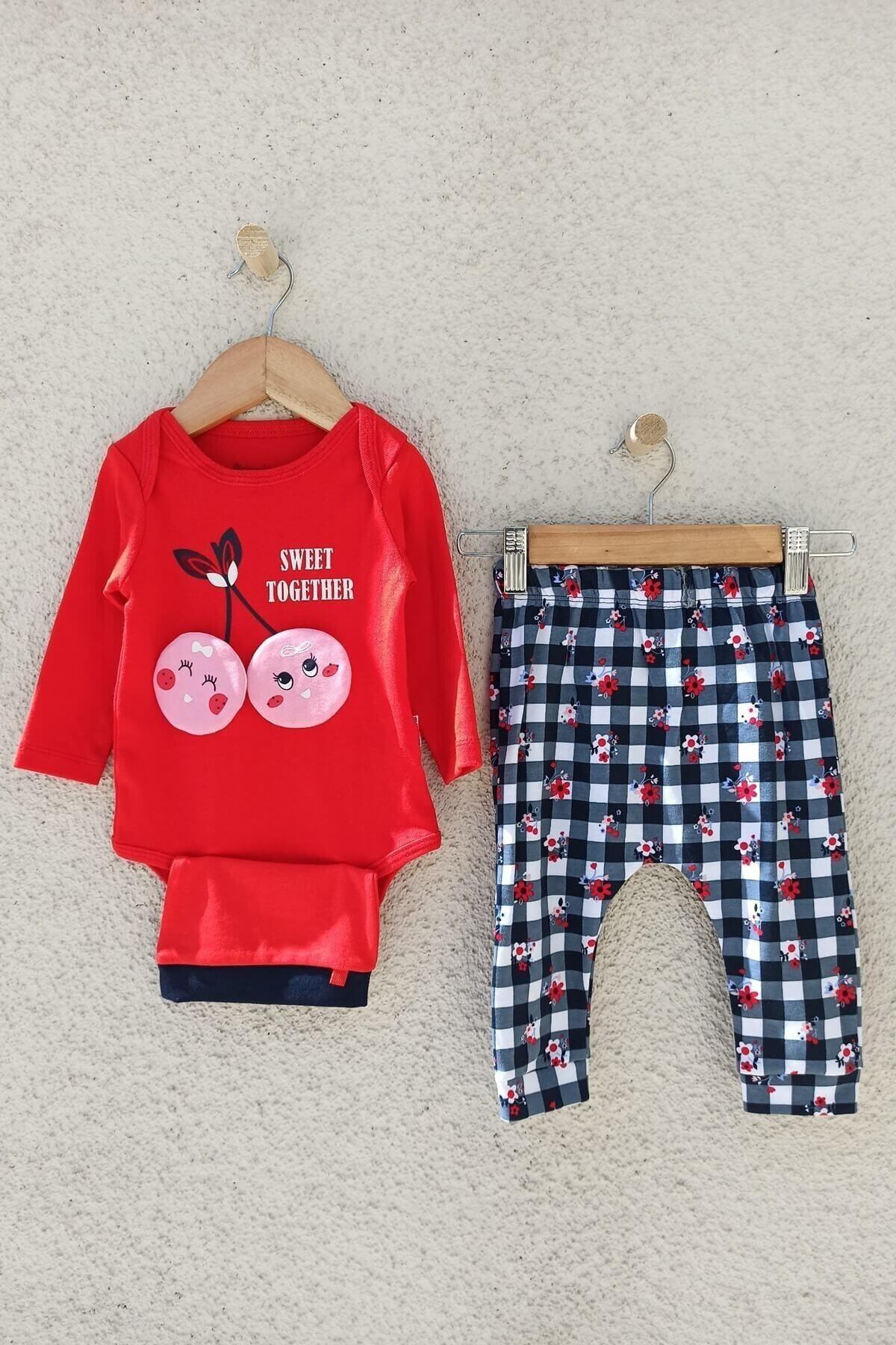Miniworld Kız Bebek Kırmızı Kiraz Figürlü Şapkalı Takım 1