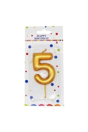 Cansüs Parlak 5 Rakamı Doğum Günü Pastası Mumu Gold