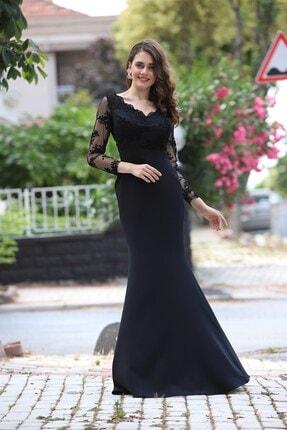 Shine İstanbul Dantel Detaylı Uzun Siyah Abiye Elbise