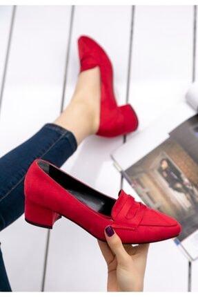 pabucmarketi Kırmızı Süet Topuklu Ayakkabı