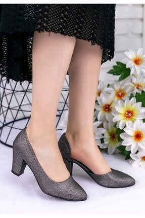 pabucmarketi Platin Cilt Desenli Topuklu Ayakkabı