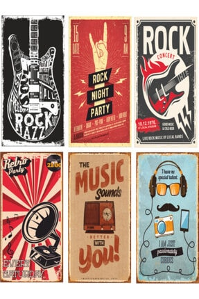 Hayat Poster Müzik Temalı 6lı Retro Ahşap Poster Seti