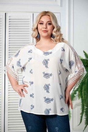 RMG Kol Dantel Detaylı Büyük Beden Beyaz Bluz