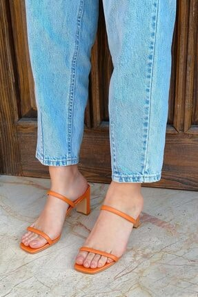 STRASWANS Kadın Turuncu Royal Deri Topuklu Sandalet