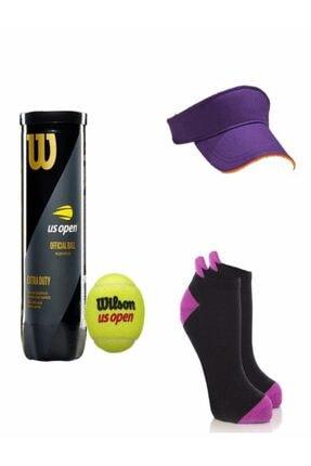 Wilson Kadın Mor Tenis Topu Tenis Şapkası Ve Tenis Çorabı