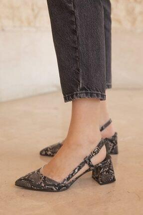 STRASWANS Kadın Siyah Yılan Derisi Görünümlü Topuklu Ayakkabı -Roy