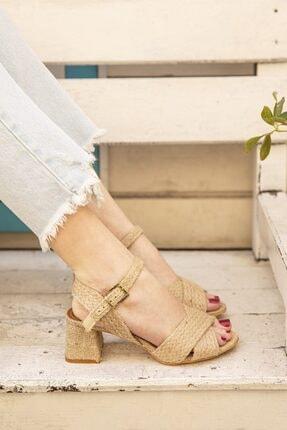 STRASWANS Kadın Topuklu Hasır Çapraz Sandalet Hasır