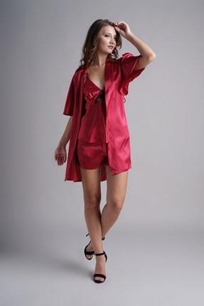 Karmen Dantel Detaylı Saten 3'lü Pijama Takımı