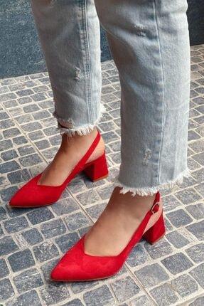 STRASWANS Kadın Kırmızı Hanna Topuklu Süet Ayakkabı