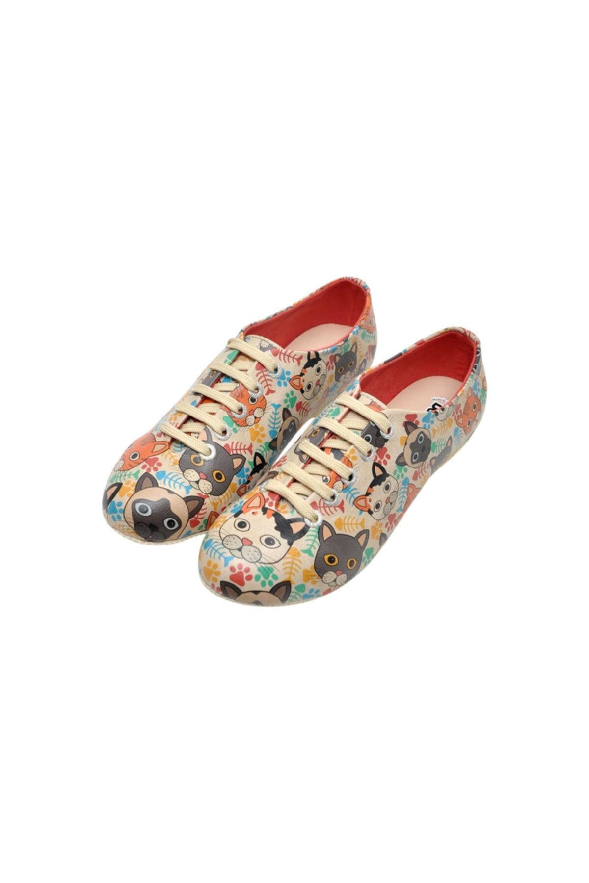 Dogo Kadın Çok Renkli Suni Deri Cat Head Oxford Ayakkabı 1