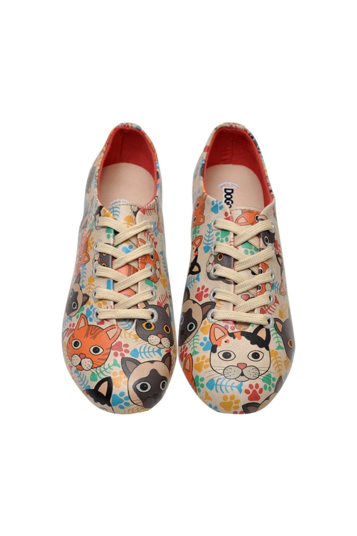 Dogo Kadın Çok Renkli Suni Deri Cat Head Oxford Ayakkabı 2