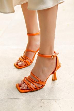 MYPOPPİSHOES Kadın Oranj Cilt Topuklu Ayakkabı Fabio