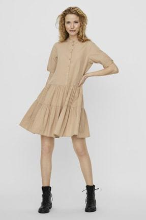 Vero Moda Kadın Bej Yarım Kollu Organik Pamuk Gömlek Elbise 10227853 VMDELTA