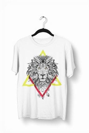 Tshigo Triangle Lion Baskılı Erkek T-Shirt - 2019TS198