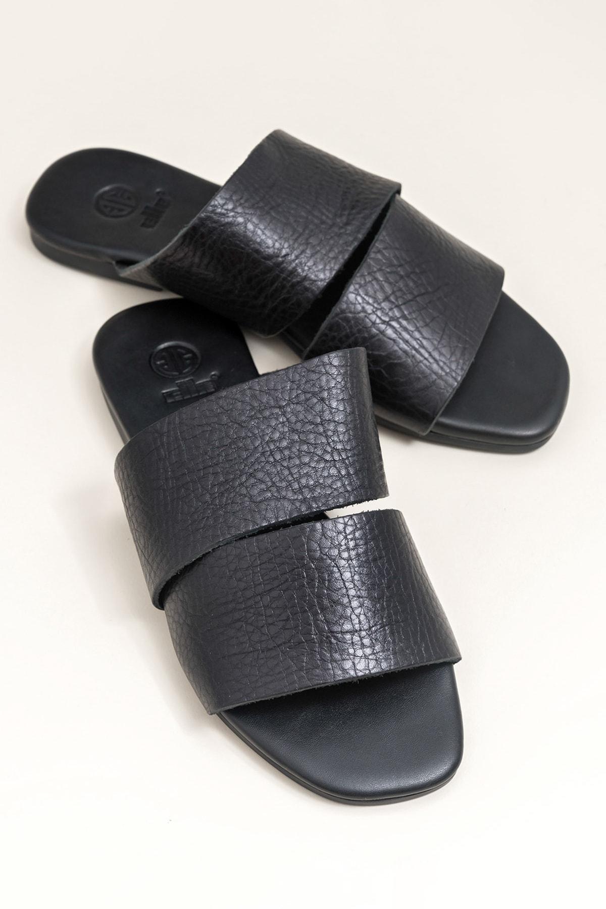 Elle Shoes CAMA Hakiki Deri Siyah Kadın Terlik 1