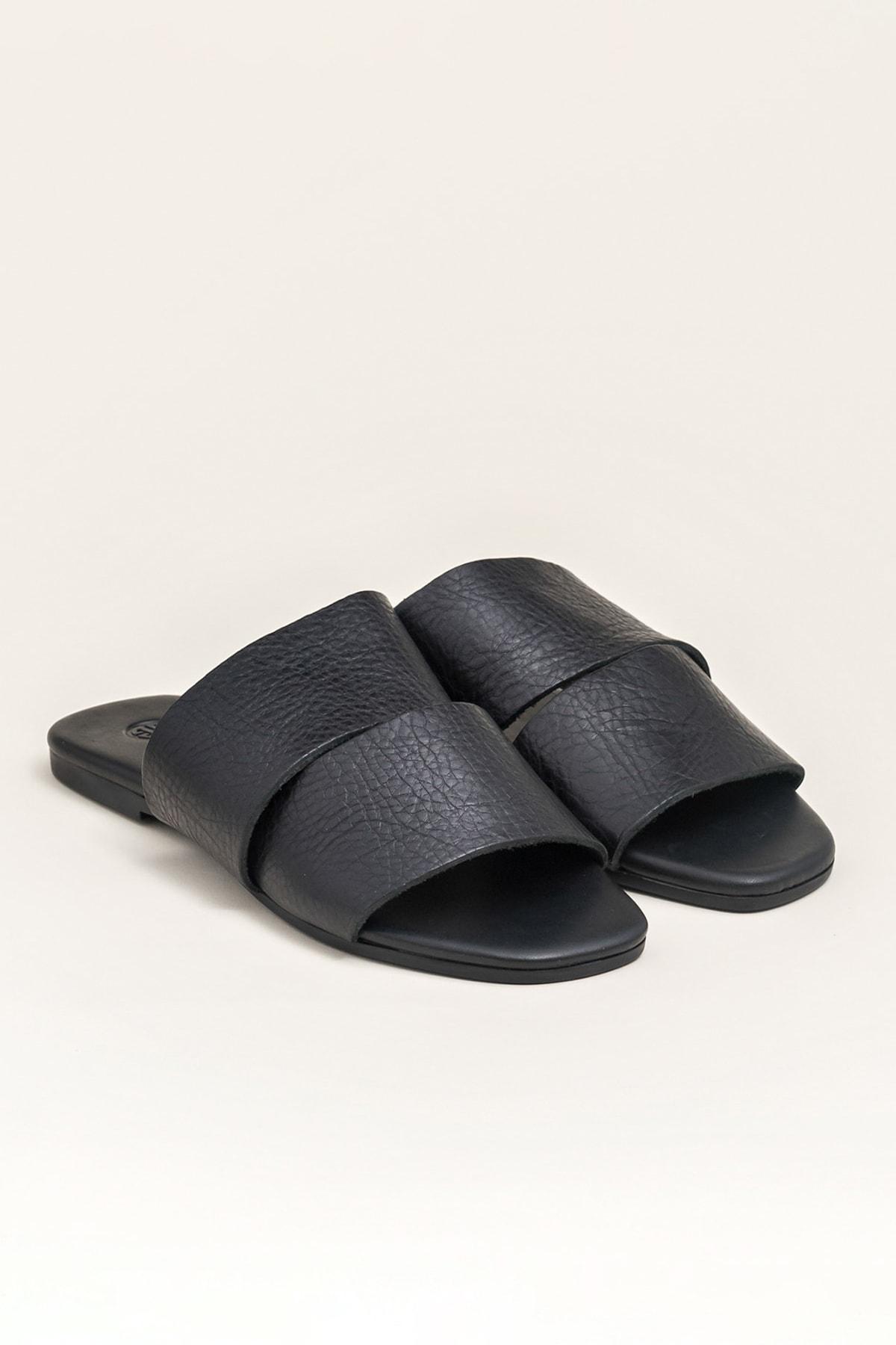 Elle Shoes CAMA Hakiki Deri Siyah Kadın Terlik 2