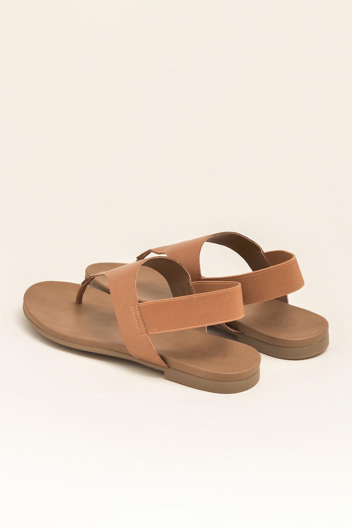 Elle Shoes ERTHA Hakiki Deri Taba Kadın Sandalet 2