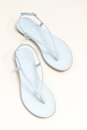 Elle Shoes MANISHA Hakiki Deri Mavi Kadın Sandalet