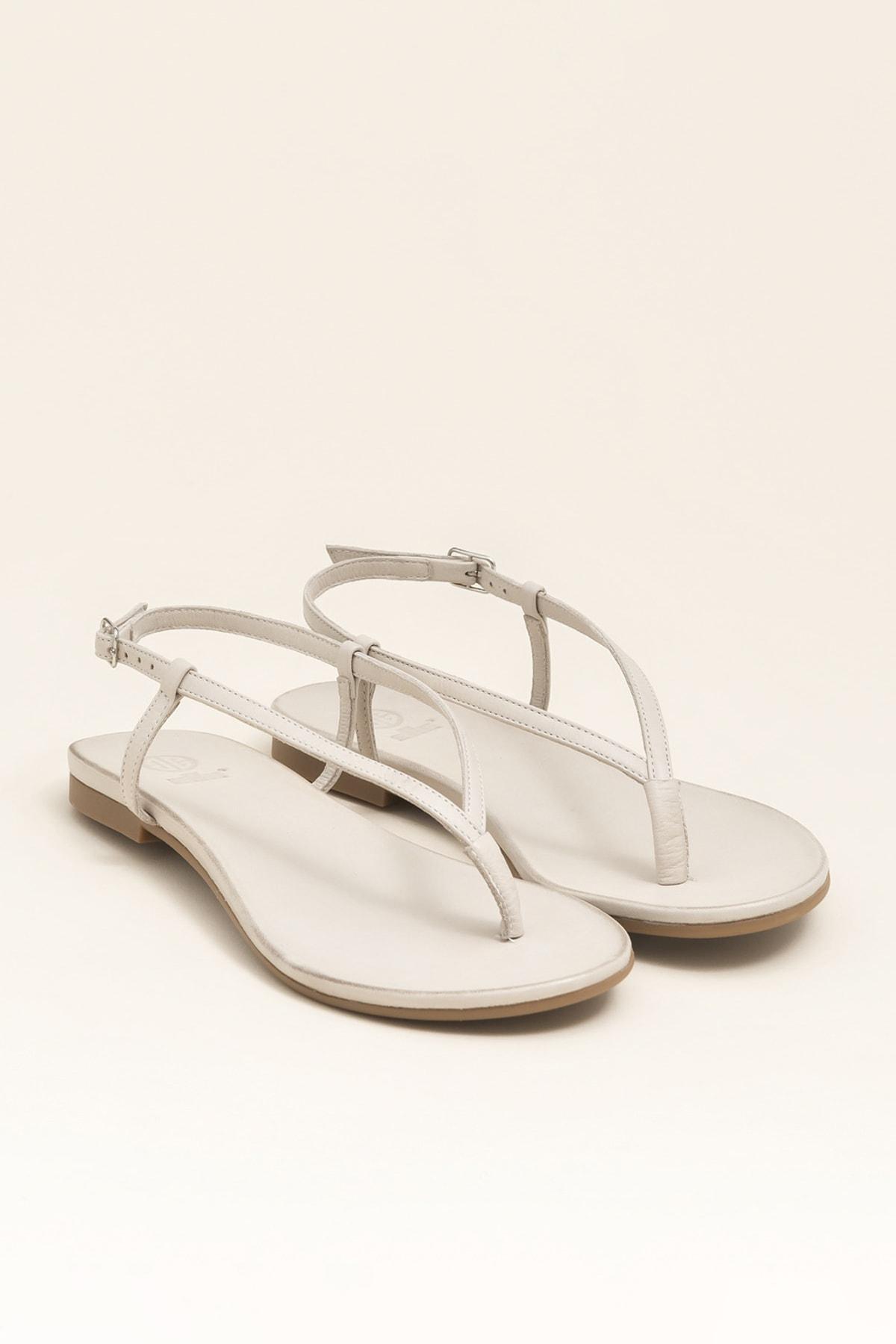 Elle Shoes MANISHA Hakiki Deri Kemik Rengi Kadın Sandalet 2