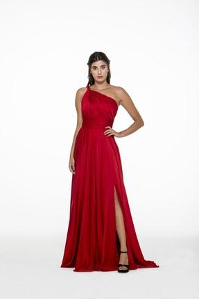 MAXXE Kadın Kırmızı Helen Tek Omuz Saten Elbise 4923ST